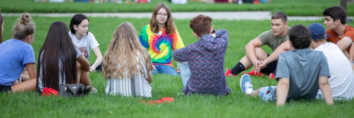 Students in group discussion on lawn