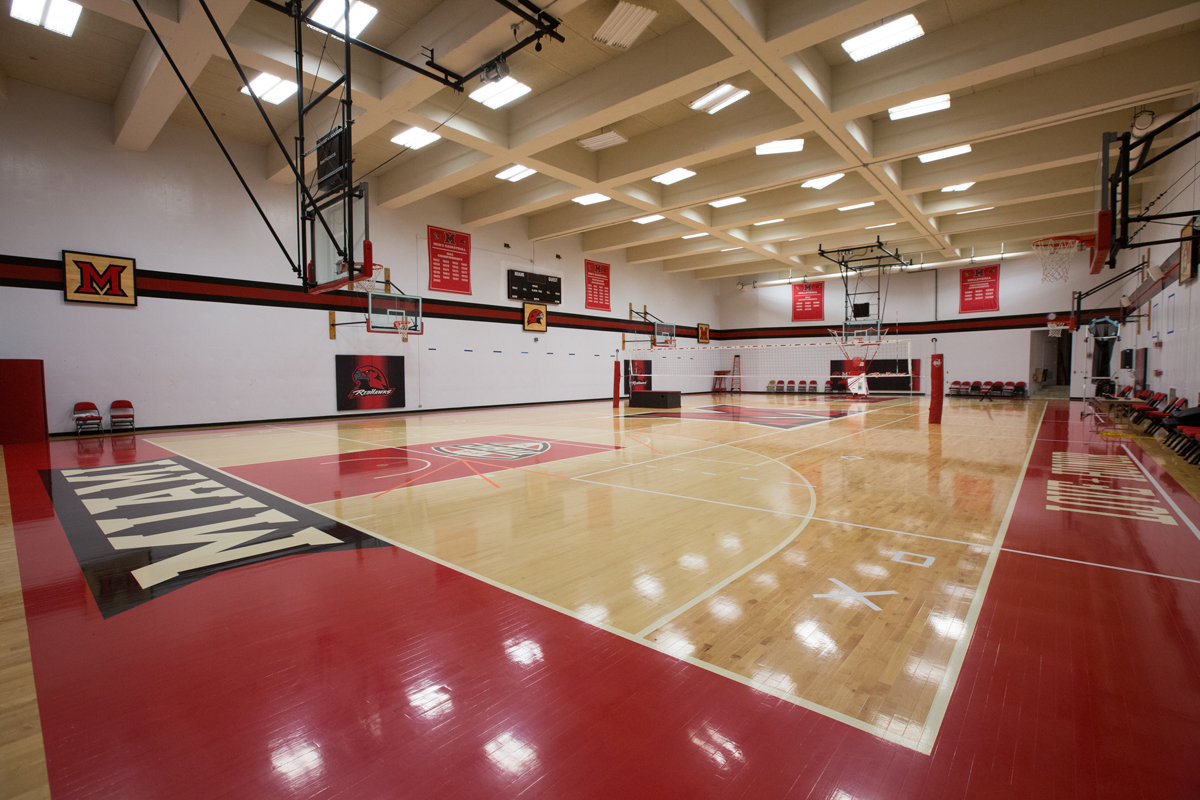 auxiliary gym in millett hall, set up for volleyball.