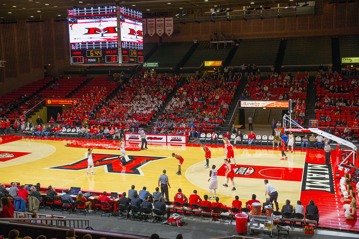 Basketball game in Millett Hall