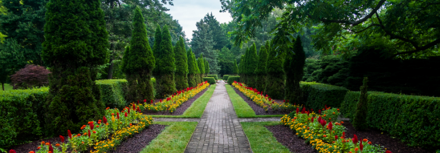 Path leading into the formal gardens