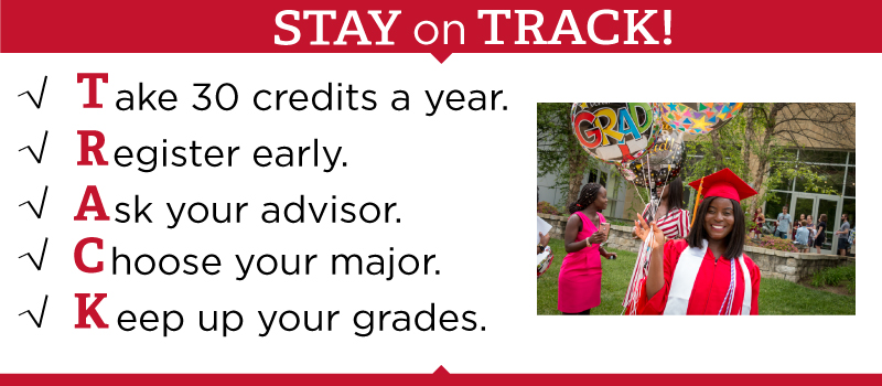 STAY ON TRACK! Take 30 credits a year, register early, ask your advisor, choose your major, and keep up your grades.