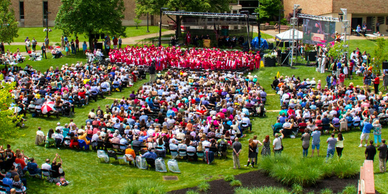 Arial view of commencement on the Hamilton Campus.