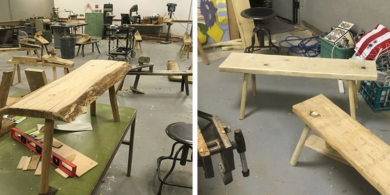2 benches that were made during woodworking.