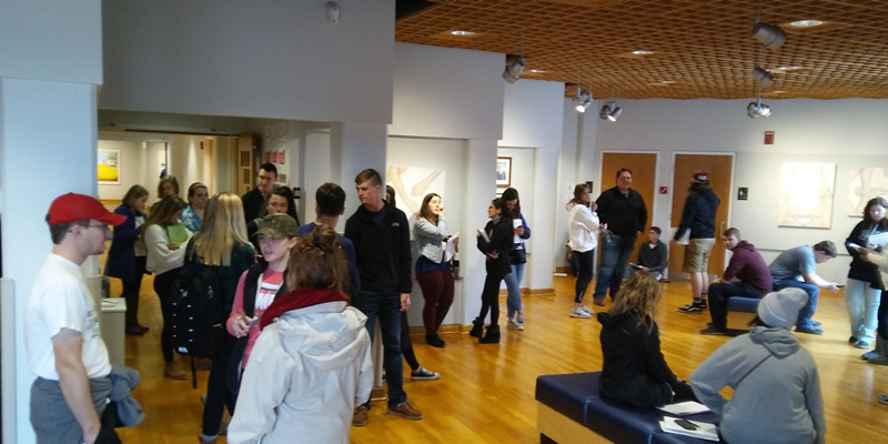 students visiting the Fitton center for creative arts.