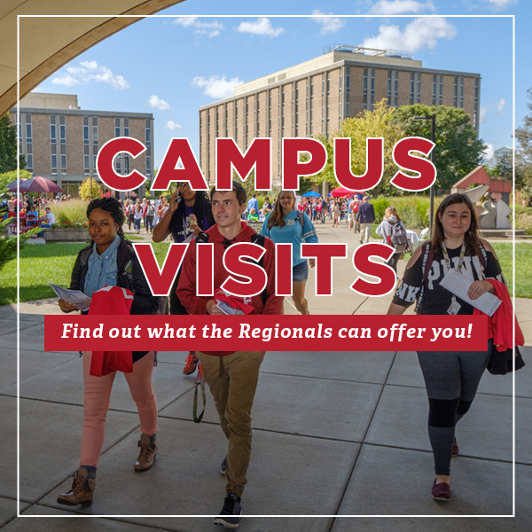 Campus Visits Find out what the Regionals can offer you! Image of students walking underneath the archway at the Hamilton Campus.