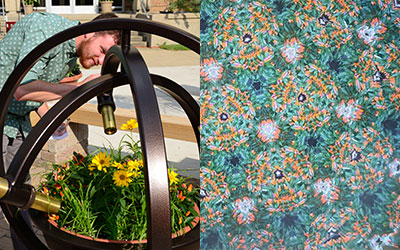 Left image is a male looking through the gold cylinder at the flowers. Right kaleidoscope image of the flowers.