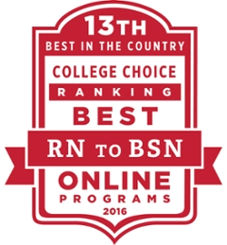 Thirteenth best in the country. College choice ranking. Best RN to BSN Online Programs 2016.