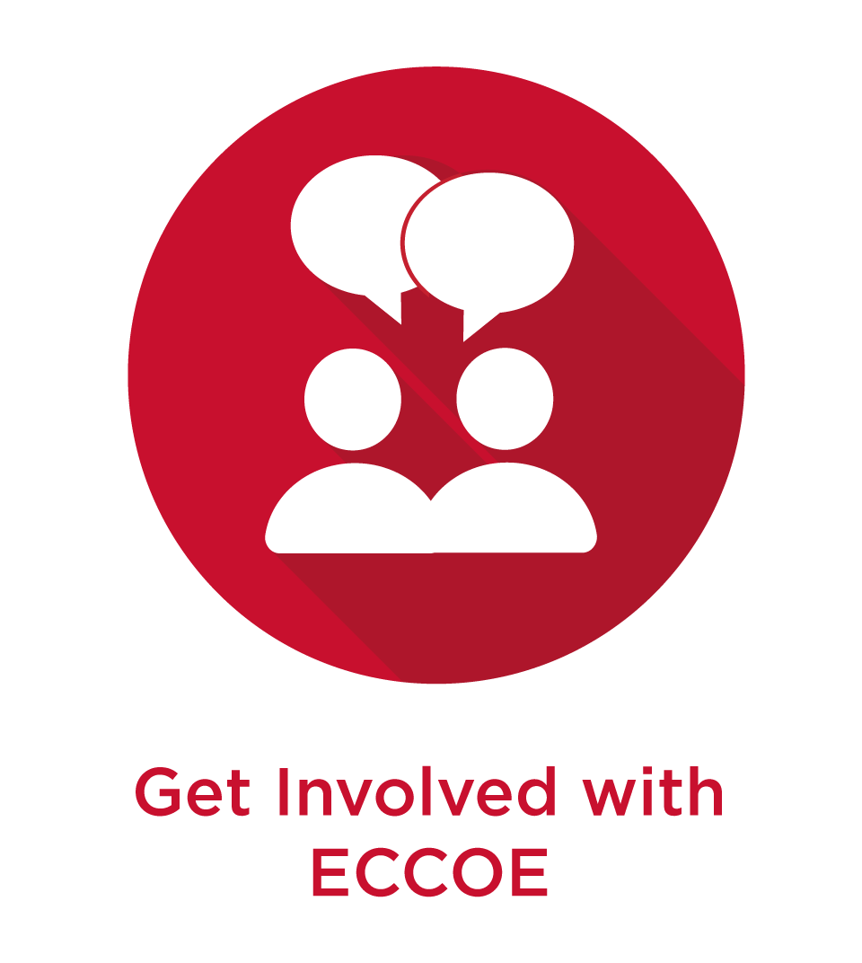 Red circle icon with white text that reads: enhance, engage, and encourage with ECCOE as well as a line drawing of two people talking