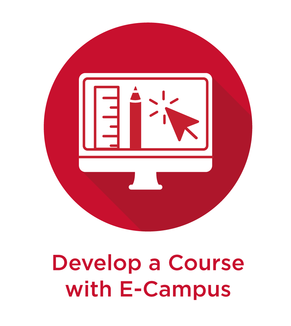 Red circle icon with white text that reads: Develop an online or hybrid course as well as a line drawing of a desktop monitor with a ruler, pencil, and mouse