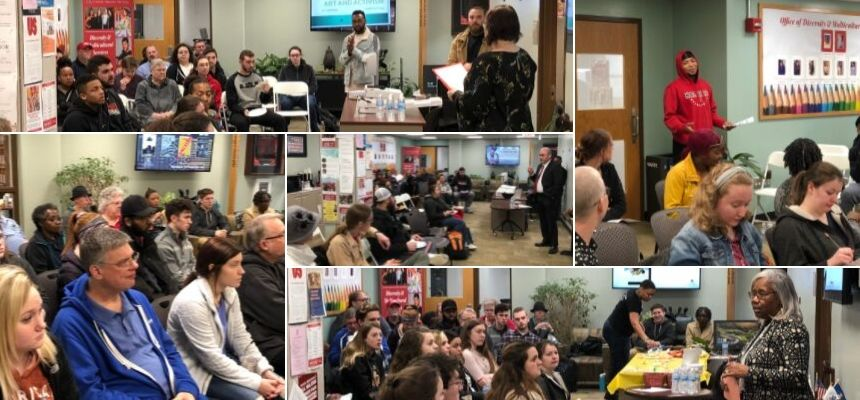 collage of students, faculty and staff in lively conversations about hot topics