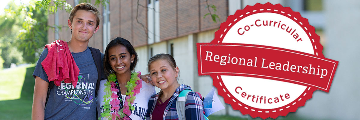 3 students standing with their arms around one another in the quad on the Middletown campus. Regional Leadership Certificate Program Logo.