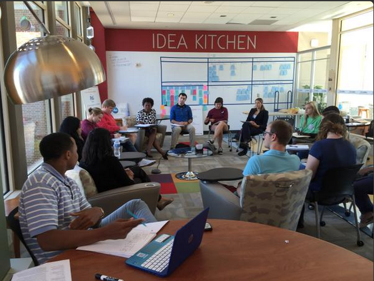 Students engaging with guests from the Miami Meets India program in the Idea Kitchen on campus.