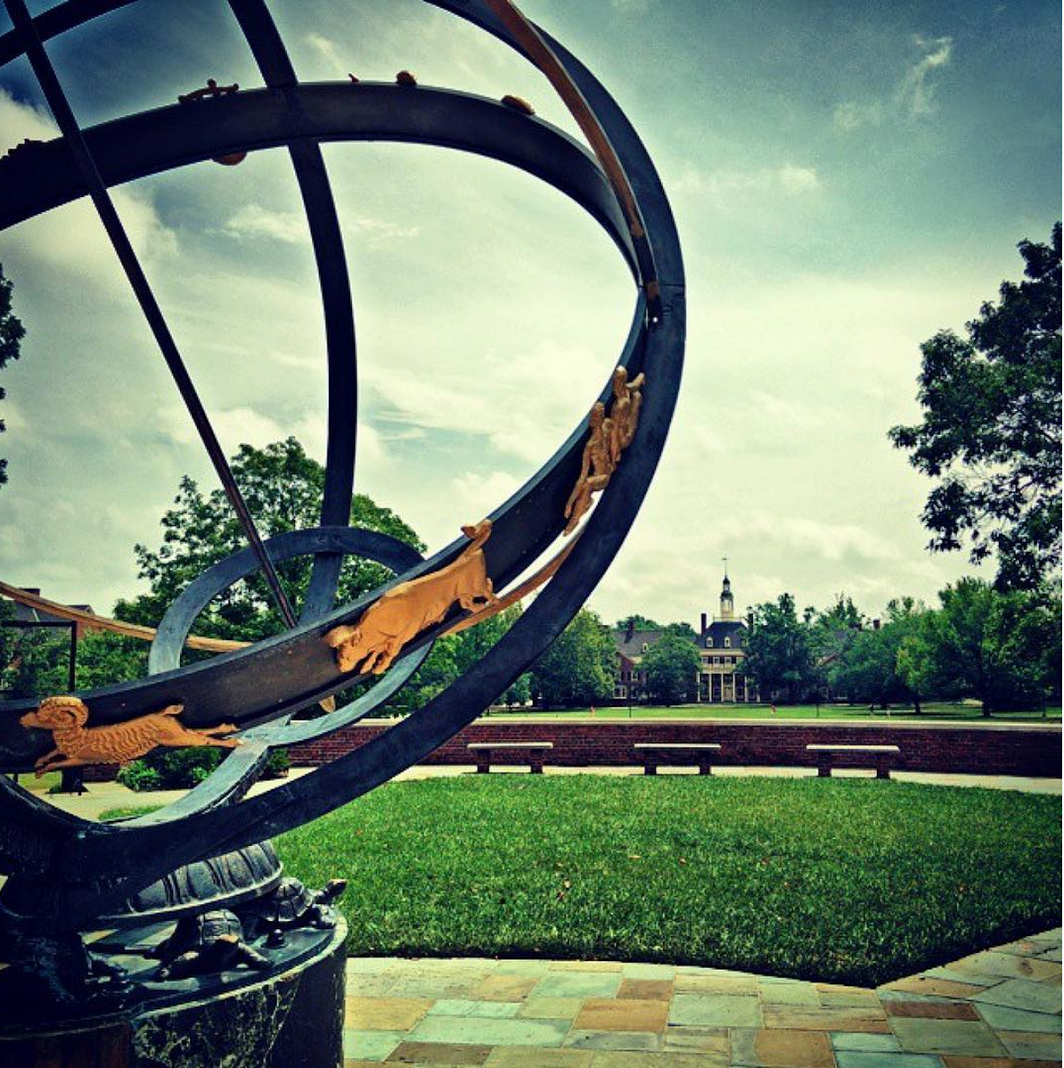 Tri Delt Sundial with MacCracken Hall featured in the background.